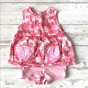 Girls 12m Summer Outfit Pink Shorts Floral Shirt